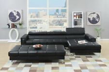 Black Bonded Leather 2pc Sectional Sofa Chaise Modern Extra Lounge Space Couch