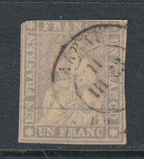 Switzerland 30 1855 1fr Lavender Imperf Seated Helvetia Black Thread SCV $1000