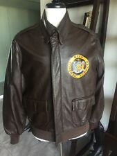 NYSP A-2 Willis Geiger Leather Flight Bomber Jacket Air Force Army A2 Size 46