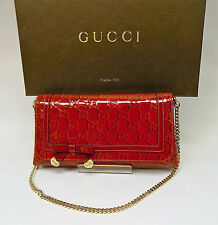 Gucci Red Monogram Purse Patent Leather GG Small Clutch with Dust Bag & Box