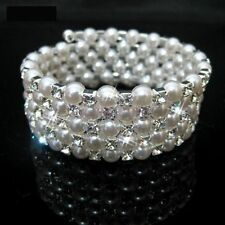 Wedding Bridal Pearl Crystal Rhinestone 4 Rows Stretch Elastic Bangle Bracelet