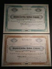 PAIR of Virginia - Carolina Railway Company Early 1900s Unissued Certificates