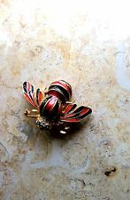 CLOISONNÉ ENAMEL GOLD BLACK RED BROOCH BEE WASP PIN BUTLER WILSON SIGNED B&W