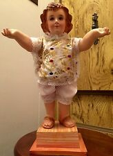 "Large Vintage Santos Baby Jesus Figure Striking Glass Eyes 16"" Wood Mounted"