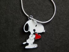 SNOOPY PEANUTS VALENTINE SILVER SNAKE TYPE CHAIN NECKLACE PENDANT CHARM