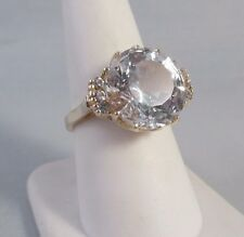 10K YELLOW GOLD FANCY CUT 14.8mm CLEAR QUARTZ or SPINEL RING Sz 8