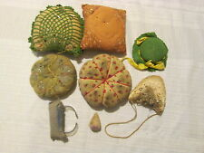 Antique Vintage Lot of 8 Pin Cushions Crocheted & Fabric Hat Wrist With Pins