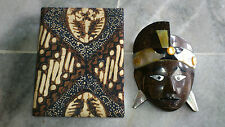 Indonesia Bali Art Solid Traditonal Bali MASK in authentic batik decorative box