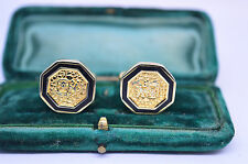 Vintage yellow metal cufflinks with an Art Deco style #C548
