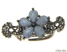 Hawaiian Plumeria Flower Crystal Rhinestone Crab Claw Hairpin Hair Clip (Gray)