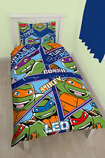 SINGLE BED DUVET COVER SET TEENAGE MUTANT NINJA TURTLES GREEN BLUE ORANGE KIDS