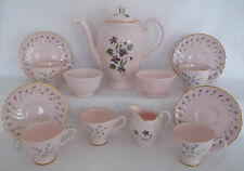 VINTAGE ROYAL TUSCAN CHINA WEDGWOOD PASTEL PINK HANDPAINTED COFFEE TEA SET