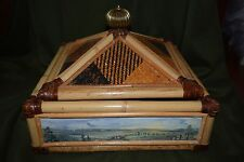 Mckenzie Childs Vivaldi Music Box - Rattan, wicker & Leather - VINTAGE & RARE