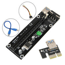 USB3.0 PCI-E Express 1x To 16x Extender Riser Card Adapter SATA Power Cable NEW
