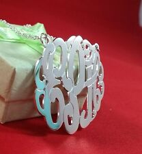 """1.5""""Sterling Silver Personalized Monogram Necklace BigSize 38mm (Made in USA)"""
