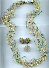 Vintage Green Yellow Glass 10 Multi Strand Bead Necklace Clip On Earring Set