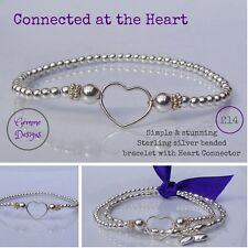 Sterling Silver Stretch Stacking Heart Connector Bracelet