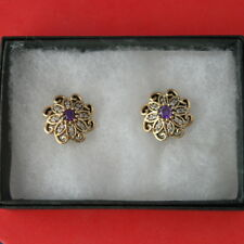 Beautiful 925 Silver Earrings  with Amethyst - Withe Topaz 6.2 Gr. 1.7 Cm. Wide