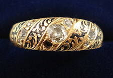 Victorian or 18ct diamant memorial ring. daté 1873.