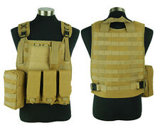 Airsoft Tactical Paintball Molle Plate Carrier Adjustable Combat Vest Tan