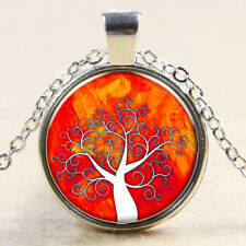 Vintage Tree of Life Cabochon Silver plated Glass Chain Pendant Necklace MS46