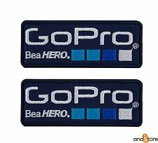 Toppe GO PRO blu set 2 iron on patch ricamata termoadesiva racing sponsor
