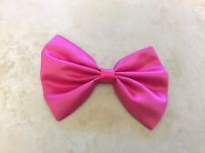 "NEW HANDMADE SATIN FABRIC PINK HAIR BOW 4"" X 6"" ALLIGATOR CLIP WOMEN DANCE"