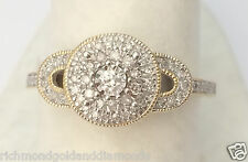 Yellow Gold Vintage Cathedral Round Halo Split Shank Diamond Engagement Ring NEW