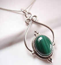 Nicely Accented Malachite 925 Sterling Silver Necklace Corona Sun Jewelry
