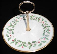 """Lenox Holiday Holly & Berry 8"""" Christmas Cookie Serving Dish Plate Center Handle"""