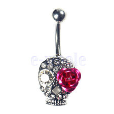 Acier chirurgical Cristal Crâne mauve fleur Belly Navel Ring Nombril Piercing GF