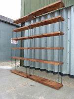 STUNNING INDUSTRIAL HAIRPIN RUSTIC PINE BOOKCASE SHOP DISPLAY Delivery available
