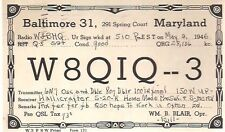 """QSL CARD vintage card dated 1946 from Baltimore, Maryland """"Ed"""""""