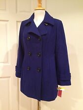 Anne Klein Coat Peacoat Trench Wool Blend Double Breasted Royal Blue PM NWT