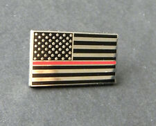 USA FLAG AMERICAN FIREFIGHTER FIRE DEPT RED LINE HONOR PIN BADGE 1 INCH