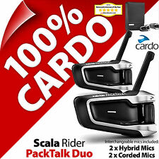 New Cardo Scala Rider PackTalk Duo Bluetooth Motorcycle Helmet Intercom Headset