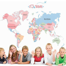 Colorful World Map Kid Bedroom Art Sticker Teaching DIY Wall Decal Nursery Decor