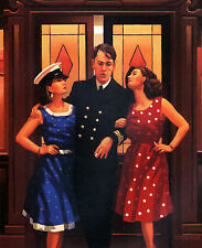 """JACK VETTRIANO BOOK  PRINT """"AND SO TO BED"""" TWO  WOMEN & NAVAL OFFICER"""