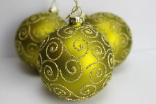 GISELA GRAHAM CHRISTMAS MATT GREEN WITH GLITTER FILIGREE GLASS BAUBLE BALL  X 3