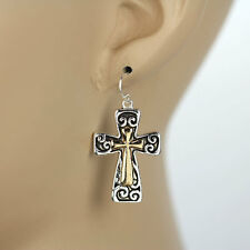 "1.25"" 2 TONE SCROLL GOLD SILVER WESTERN CROSS EARRINGS COWGIRL JEWELRY 126"