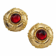 Vintage Button Gold Tone Huge Red Jewel Big Clip On Earrings USA Made
