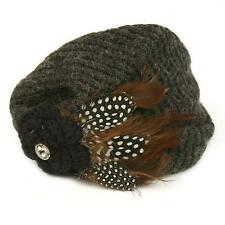 Winter Hand Knit Feathers Flower Hat Cap Fascinator Headband HeadPiece Charcoal