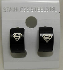5Pairs Superman Stainless Steel 316L Earrings Wholesale Men Fashion Jewelry Lots