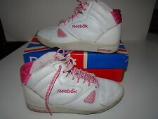 Vintage Style Reebok High Top White Pink Leather Shoes sz 7 1/2