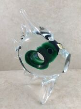 "Art Glass 8"" Glassworks Chribska Czech Republic Clear & Green Fish"