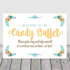 Candy Buffet Sweet Bar Table Sign in Yellow for Weddings and Parties (Y8)
