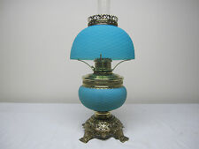 VERY RARE ANTIQUE SATIN BLUE CUT VELVET ART GLASS TABLE LAMP