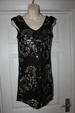 Ladies Black & Silver Sequined Dress Size S Pussycat London Evening Party