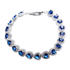 75% OFF Gorgeous Royal Blue Sapphire Heart Shaped Gem Bracelet White Gold Filled