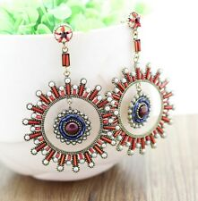 Handmade Women Fashion Antique Resin Gem,CZ & Crystal,Beads Hoop Dangle Earrings